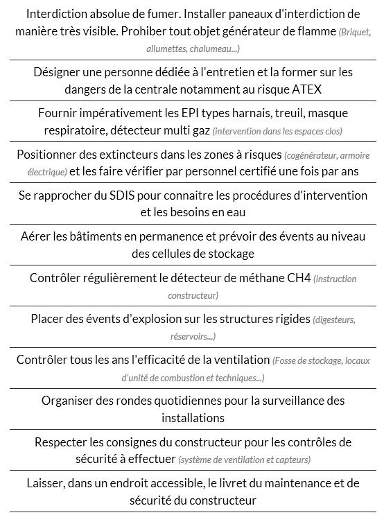 Consigner les préventions des facteurs de risques des unité de méthanisation dans le Document Unique