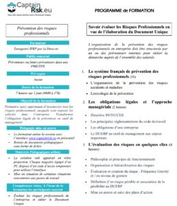 Formation au Document Unique de Sécurité